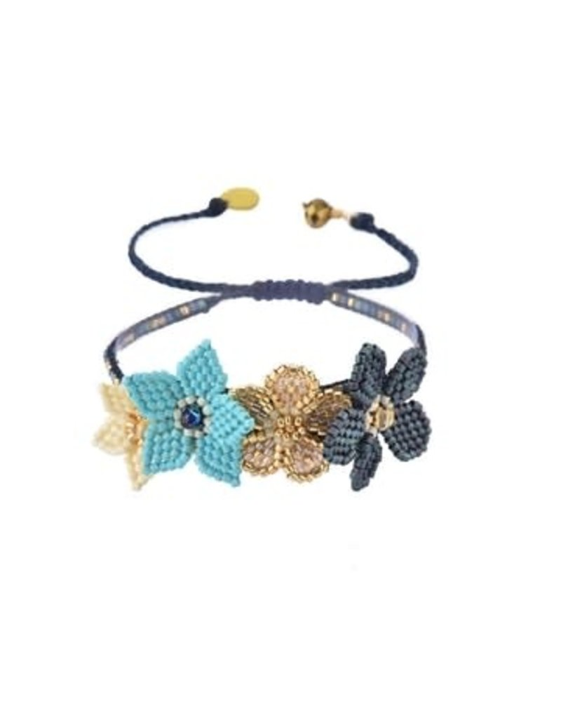 Mishky Flower B-BE-M-8776 Gold Metiallic Blue/Turquoise/Beige/White