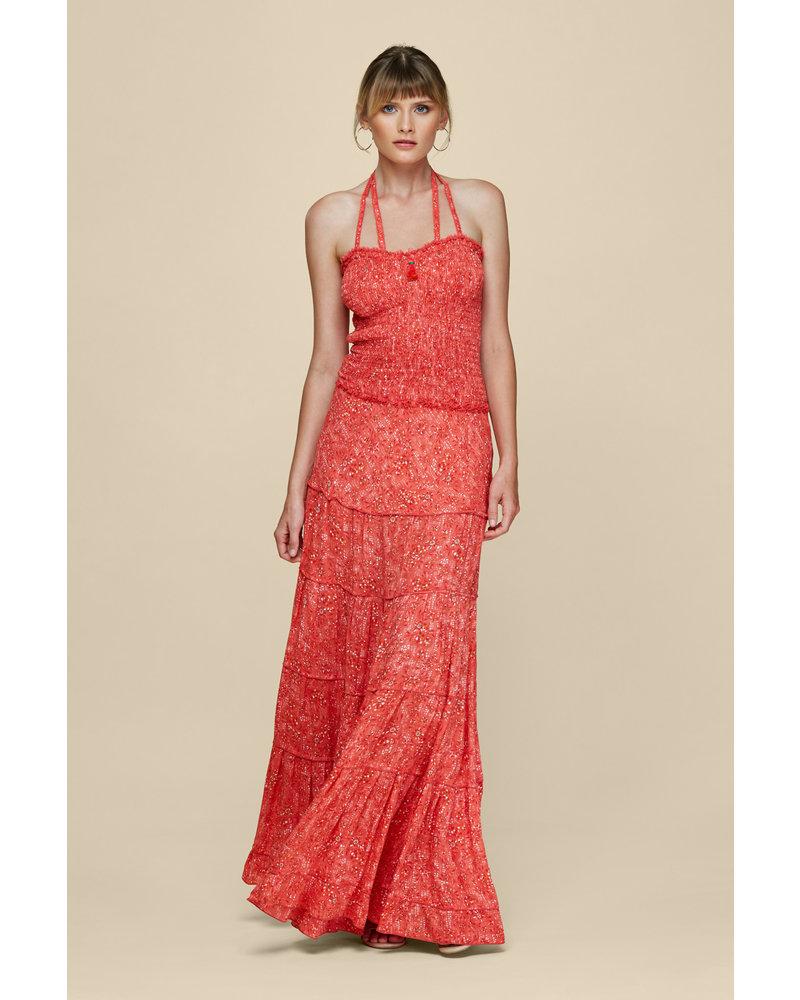 Poupette St Barth Long Bandeau Dress Triny Smocked V Pink Amarylis S20