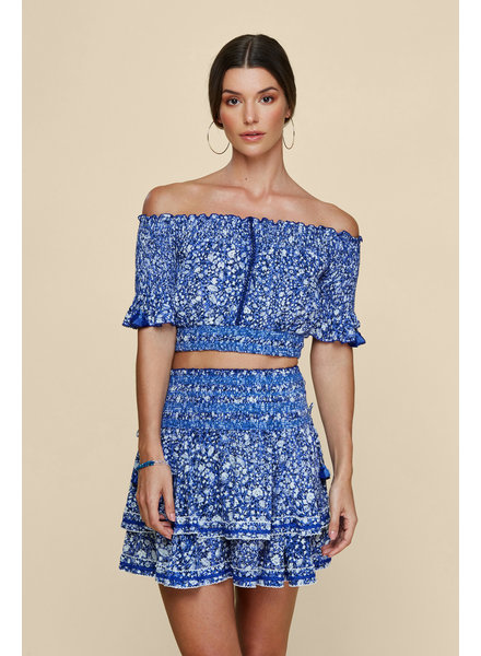 POUPETTE ST BARTH Mini Skirt Kaila Ruffled Blue Aspen S20