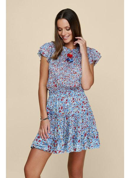 POUPETTE ST BARTH Mini Dress Nava Ruffled Blue Glory S20