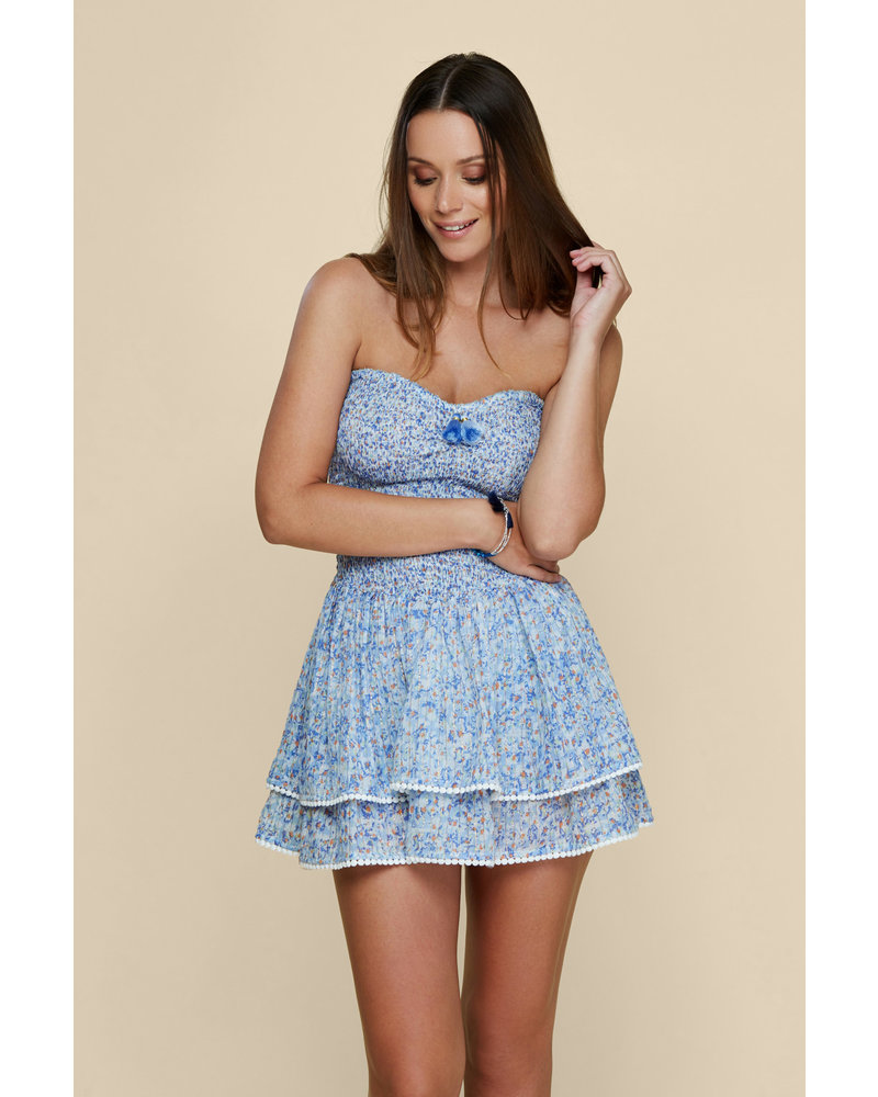 POUPETTE ST BARTH Bandeau Dress Triny Smocked Blue Iris S20