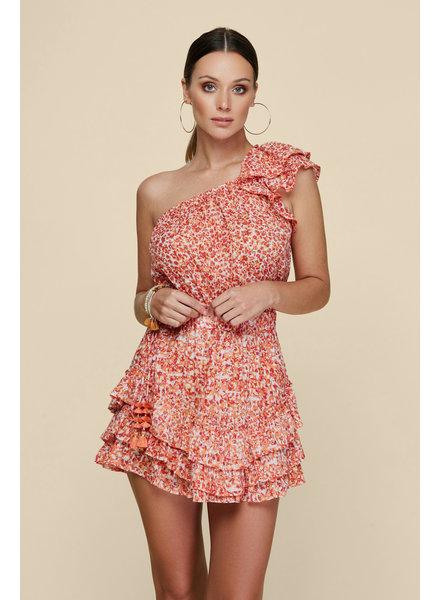 POUPETTE ST BARTH Mini Dress Kaia Ruffled Red Iris S20