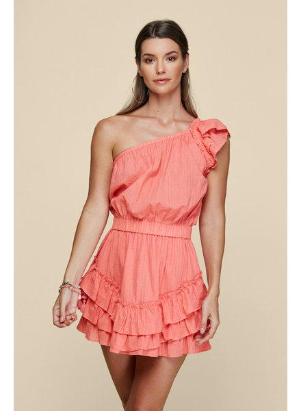 POUPETTE ST BARTH Mini Dress Kaia Ruffled Geranium Pink S20