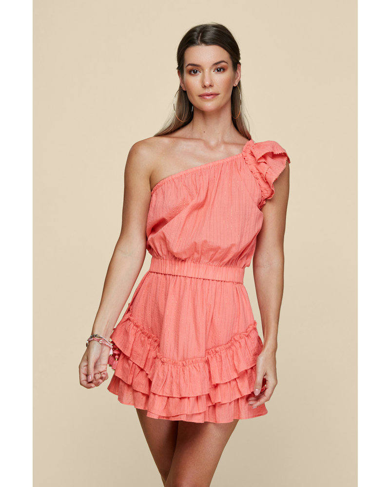 Poupette St Barth Mini Dress Kaia Ruffled Geranium Pink S20