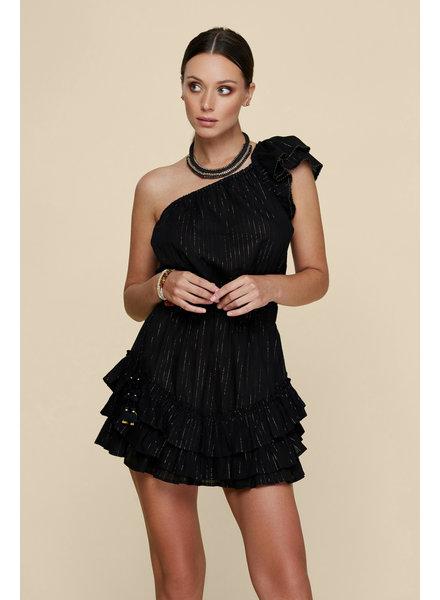 POUPETTE ST BARTH Mini Dress Kaia Ruffled Black S20