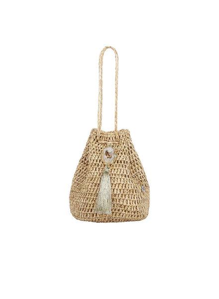Flora Bella Stintino Sm Natural Gold Crochet Raffia Wristlet S20