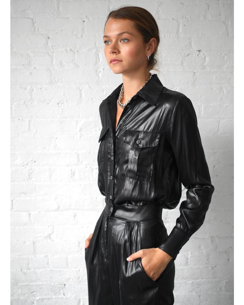 The Range Lucid Satin Military Shirt Black S20
