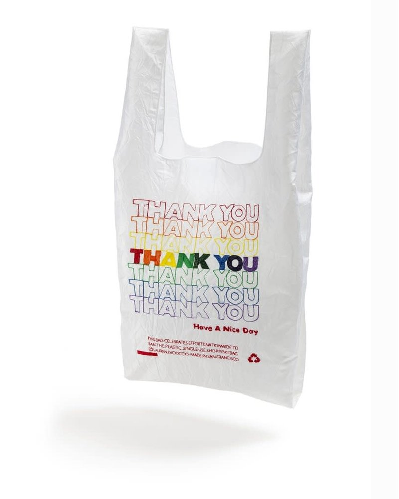 Open Editions White + Rainbow Thank You MINI Tote