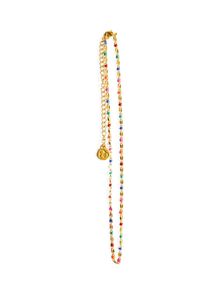 Cloverpost 17973N0Y-15 - Necklace Pop Choker Yellow Bright Multi