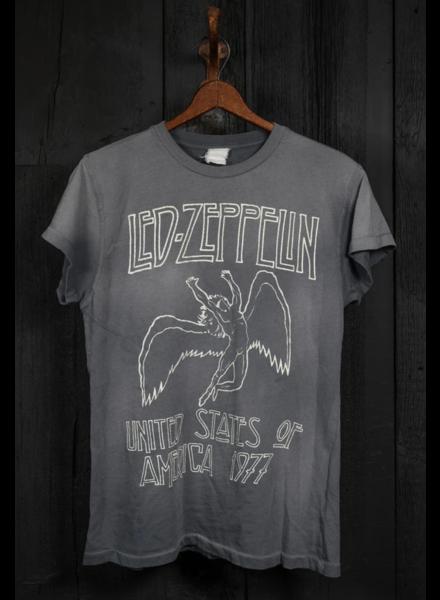 Madeworn Led Zeppelin USA 1977 Crew Tee Charcoal Grey F19