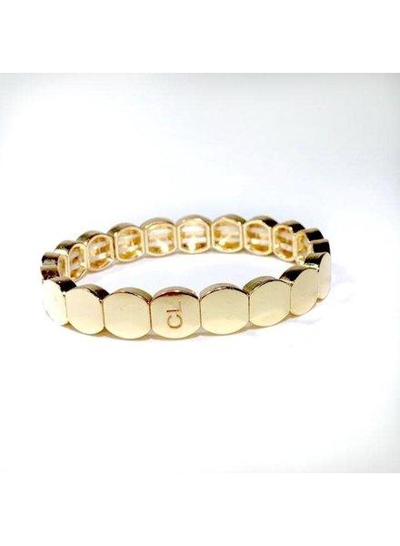 Caryn Lawn Tile Bead Round Bracelet Gold