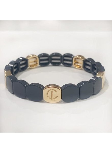 Caryn Lawn Tile Bracelet Round Slate Grey