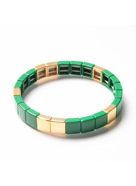 Caryn Lawn Tile Bead Bracelet Green/Gold