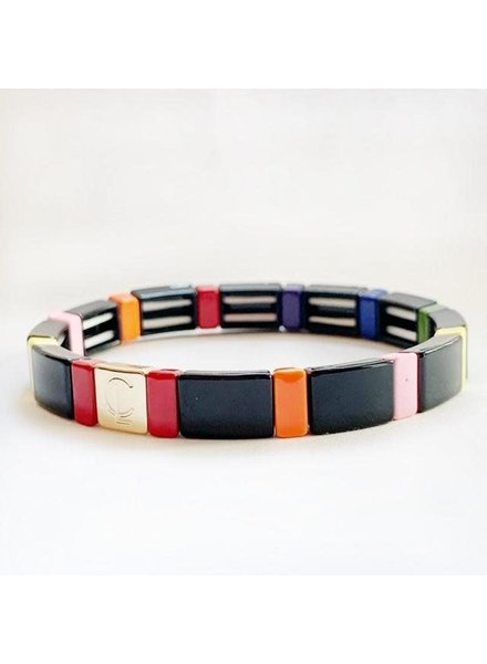 Caryn Lawn Tile Bracelet Black Rainbow