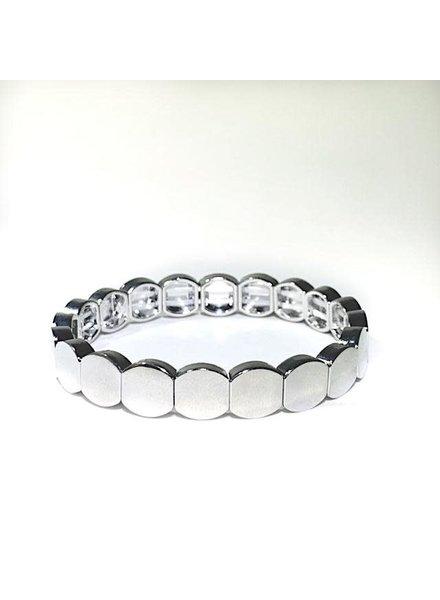Caryn Lawn Tile Bead Round Bracelet Silver
