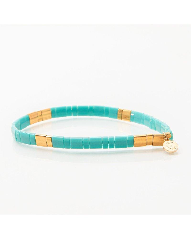 Caryn Lawn Supernova Bracelet Skinny Turquoise Gold