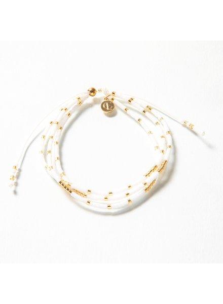 Caryn Lawn BR4004 Triple Strand Bracelet - White/Gold