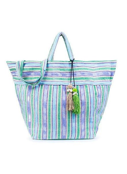 JADEtribe Samui Stripe Tote Puka Handwoven Beach Bag Green/B