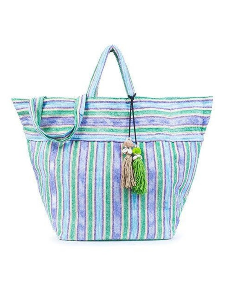 JADEtribe Samui Stripe Tote Puka Handwoven Beach Bag Green/B