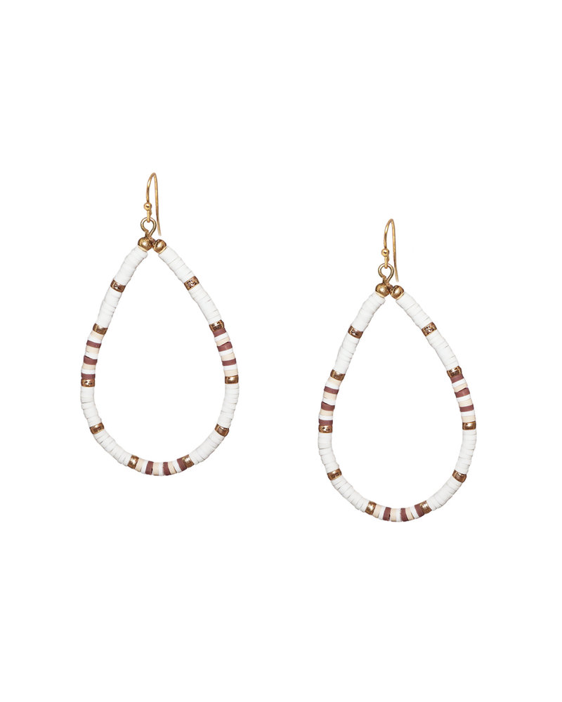 Marlyn Schiff 1205E Heishi Beaded Open Teardrop Earring