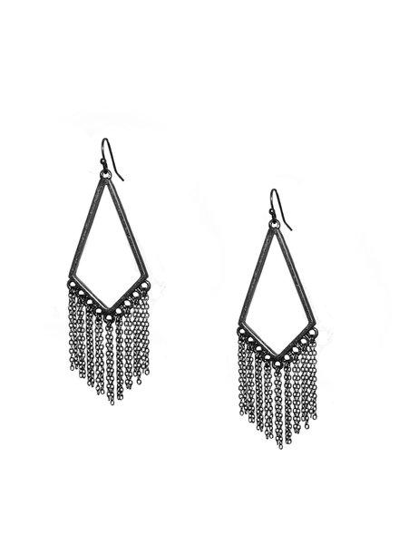 Marlyn Schiff 0975E Open Diamond Shape Fringe Earring