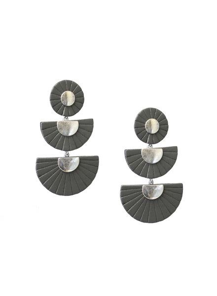 Marlyn Schiff 1133E Leather Fan Post Earrings