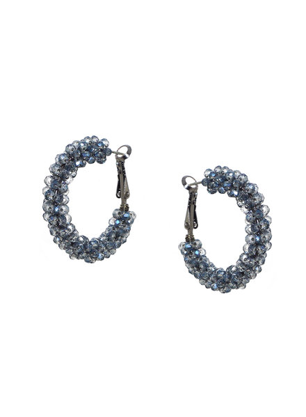 Marlyn Schiff 0993E Small Crystal Cluster Hoop