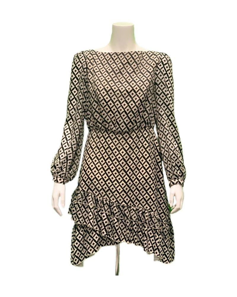 Saloni Felicia Dress Ivory/Black PS20