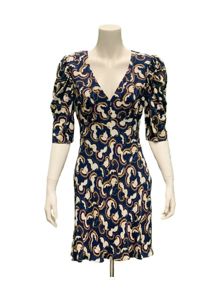 Saloni Colette Mini Dress Navy Day Break F19