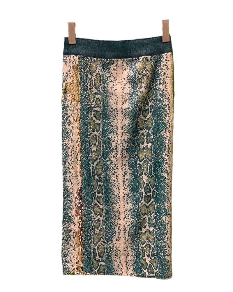 Le Superbe Liza Skirt Ombre Ocean Sequins H19