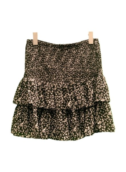 SEN Myra Ruffled Mini Skirt Black/White/Gold S20
