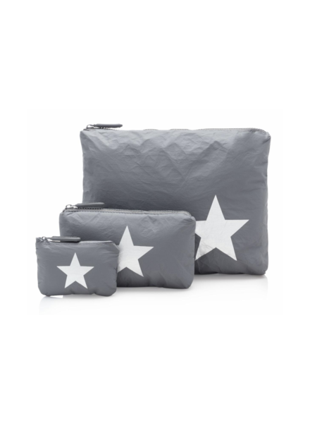 Hi Love Travel Cool Gray with Metallic Silver Star - 3 Set