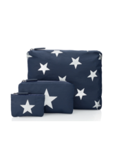 Hi Love Travel Navy with Metallic Silver Stars - 3 Set