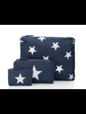 Hi Love Travel Navy with Metallic Silver Stars - 3 Set