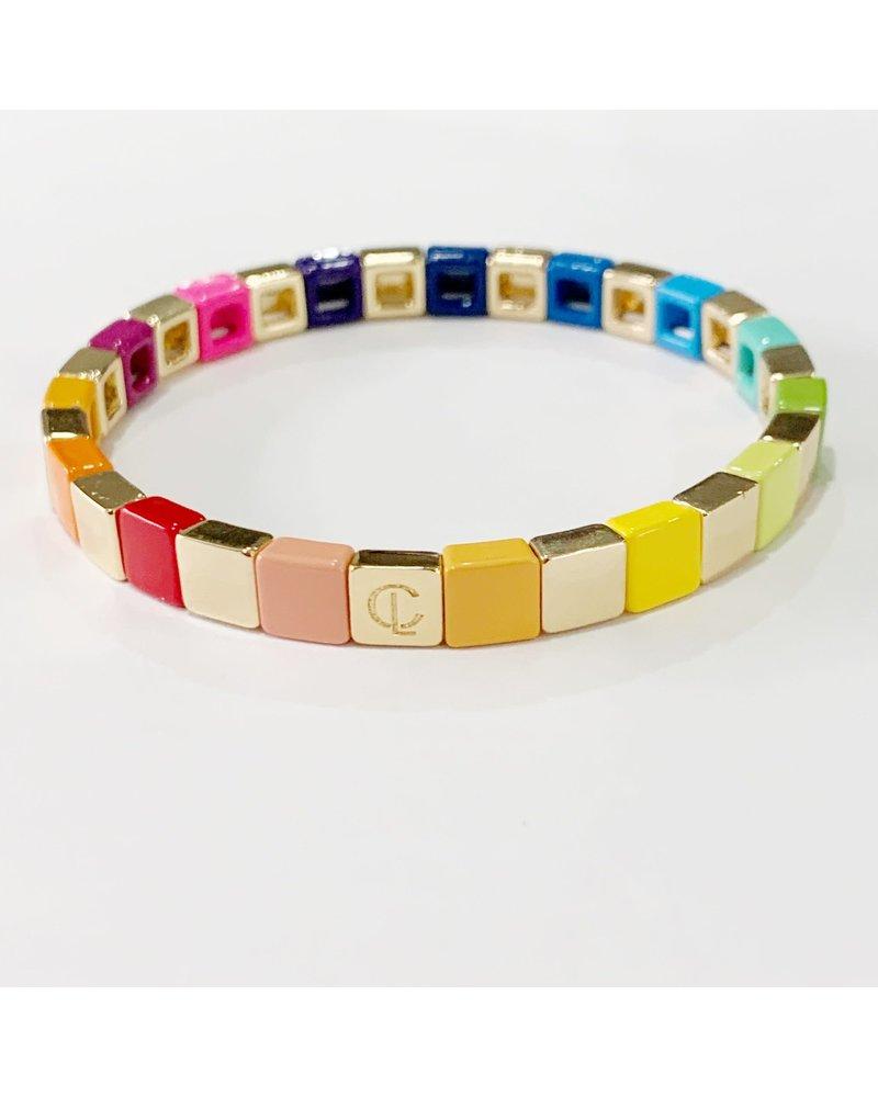 Caryn Lawn Tiny Tile Gold Rainbow