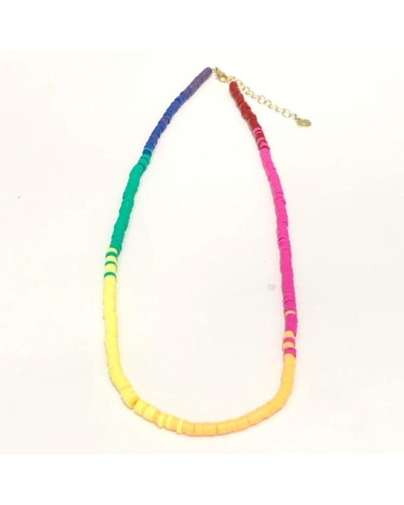 Caryn Lawn Skinny Disc Necklace Ombre Rainbow