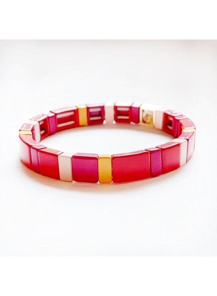 Caryn Lawn Tile Bracelet Pink/Red/Orange