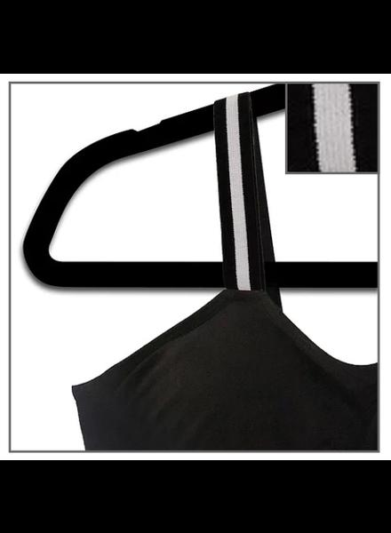 Strap-Its Black Bra Attached Strap Tuxedo Stripe