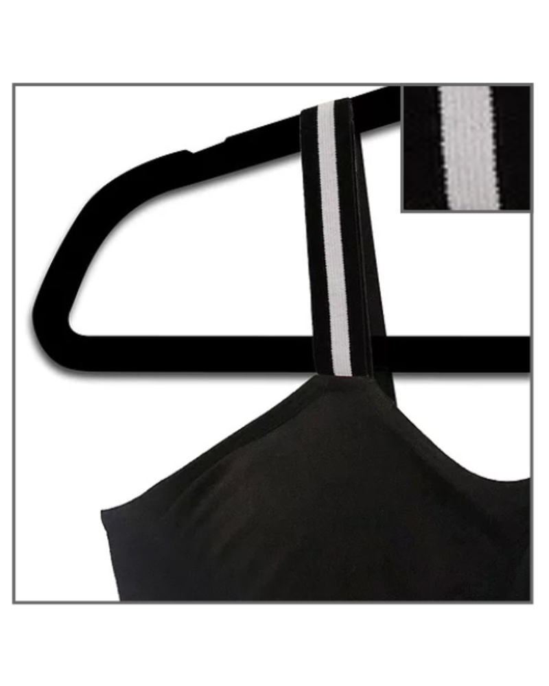 Strap-Its Black Bra Attached Strap Tuxedo Stripe