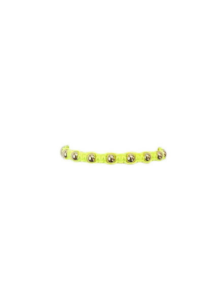 Karen Lazar Neon Yellow Macrame with Yellow Gold Filled Beads