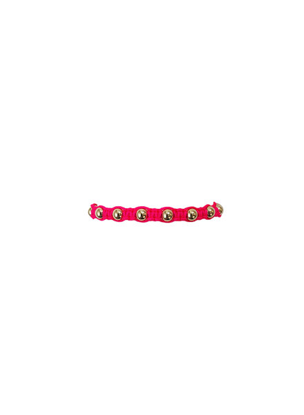 Karen Lazar Neon Fuschia Macrame with Yellow Gold Filled Beads