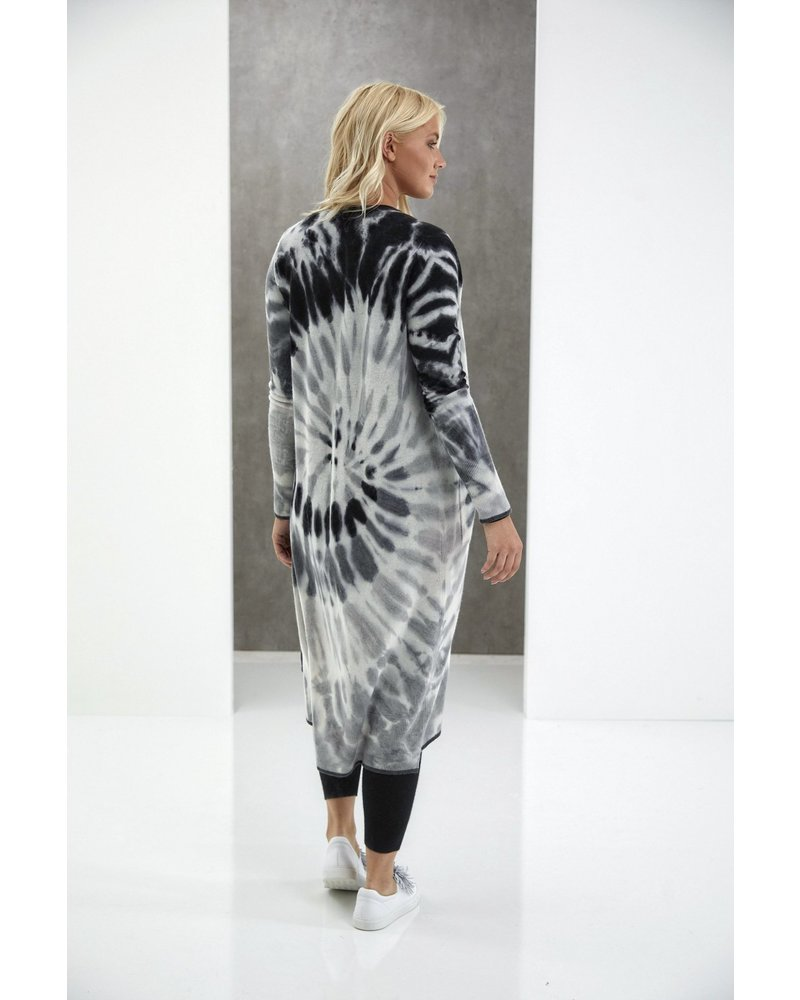 Brodie Florence Tie Dye Maxi Cardi Organic White/Charcoal Derby F20