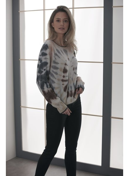 Brodie Florence Tie Dye Jumper Organic White/Charcoal Aubergine F20