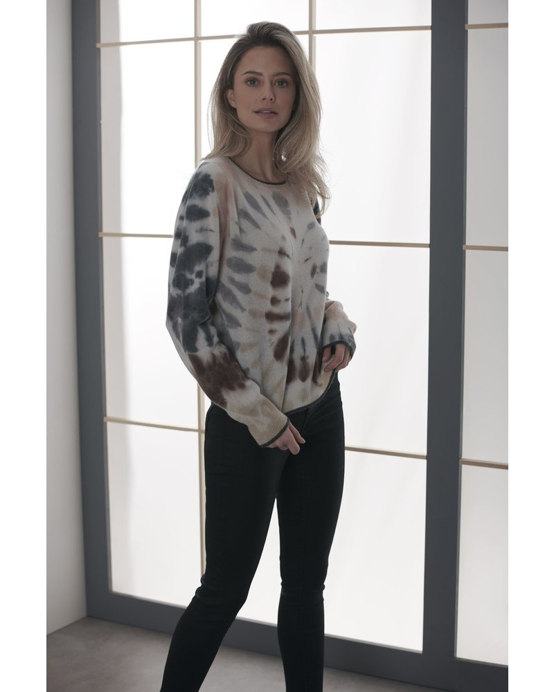 Brodie Florence Tie Dye Jumper Organic White/Charcoal Aubergine F20