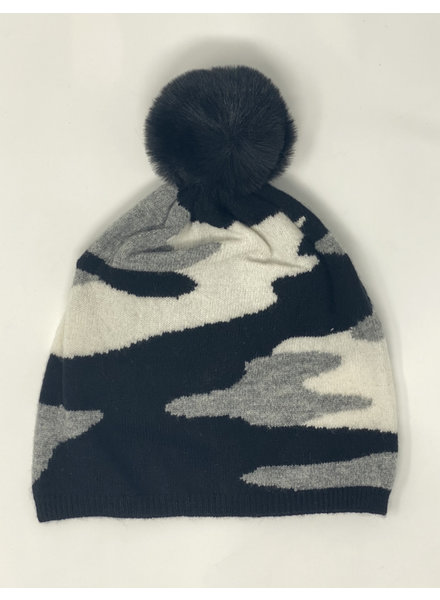 Brodie Camo Hat Black/Organic White and mid Grey Faux Fur Pom F20