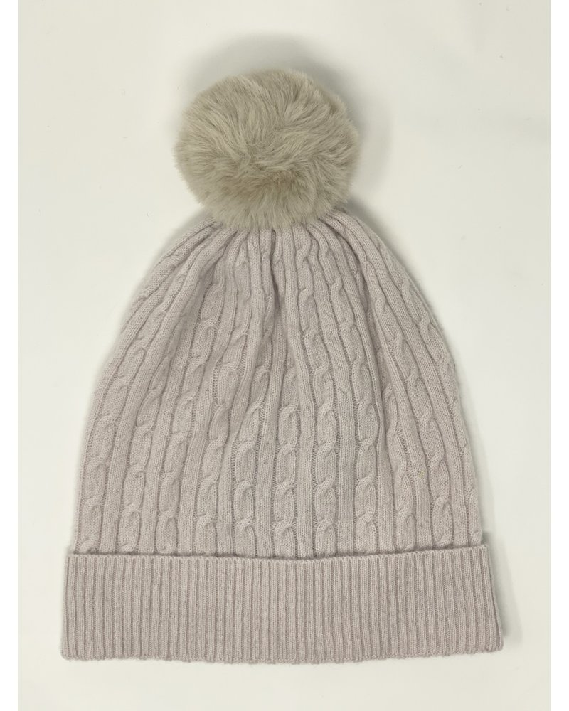 Brodie Miss Cable Faux Fur Hat Almond/Brown F20