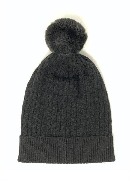 Brodie Miss Cable Faux Fur Hat Black/Black F20