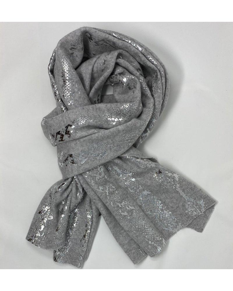 Brodie Snake Foil Evie Scarf Super Grey/Silver F20