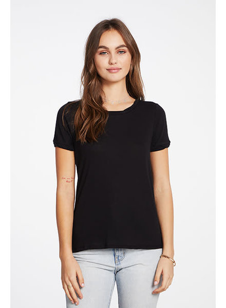Chaser Gauzy Cotton Rolled Short Sleeve Hi-Low Twisted Rolled Tee S20