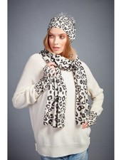 Brodie Leopard Print Scarf Organic White Black